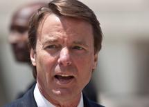 Former U.S. Senator John Edwards arrives for the ninth day of jury deliberations at the federal courthouse in Greensboro, North Carolina May 31, 2012.   REUTERS/John Adkisson