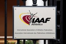 A view shows a plaque at the IAAF (The International Association of Athletics Federations) headquarters in Monaco November 4, 2015. REUTERS/Eric Gaillard