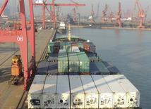 Contenedores son colocados en un carguero, en un puerto en Lianyungang, provincia de Jiangsu, China, 13 de enero de 2016. El comercio en China se frenó en diciembre, pero mucho menos de lo esperado, con un dato de exportaciones que superó a muchos de sus rivales regionales después de que el país permitiese al yuan depreciarse con fuerza, lo que desató el temor a una guerra de divisas en las economías de Asia dependientes del comercio. REUTERS/China Daily