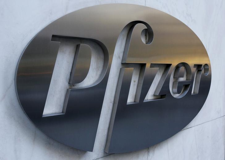 The Pfizer logo is pictured on the company's World Headquarters building in the Manhattan borough of New York November 23, 2015.    REUTERS/Brendan McDermid
