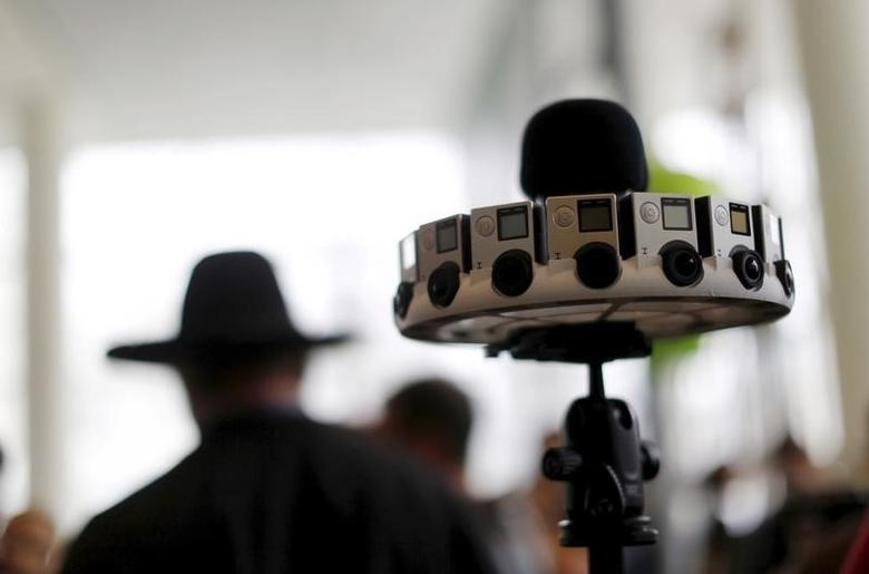 A GoPro device featuring 16 cameras, to be used with Google's ''Jump,'' to provide viewers with 360-degree video, is shown during the Google I/O developers conference in San Francisco, California May 28, 2015.  REUTERS/Robert Galbraith
