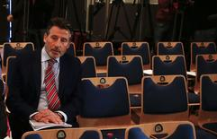 Sebastian Coe, IAAF's President, waits for a news conference by the World Anti-Doping Agency's (WADA) former president, Dick Pound, who heads the commission into corruption and doping in athletics, in Unterschleissheim near Munich, Germany, January 14, 2016. REUTERS/Michael Dalder