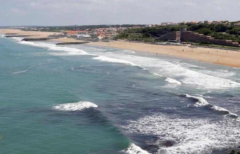An aerial view shows a sea wall on the beach that protects sand dunes from erosion along the Atlantic Ocean coast in Anglet, southwestern France, June 20, 2015.   REUTERS/Regis Duvignau