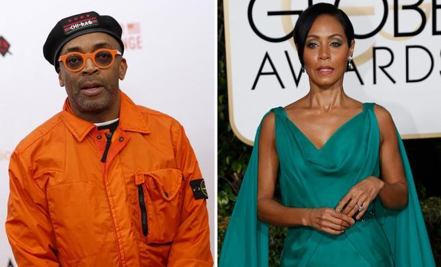 1月18日、今年の米アカデミー賞俳優部門に黒人がノミネートされなかったことを受け、アフリカ系米国人のスパイク・リー監督(左)と女優ジェイダ・ピンケット・スミスさん(右)が授賞式をボイコットすると表明した(2016年 ロイター)