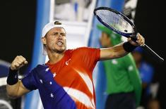 Australia's Lleyton Hewitt reacts during his first round match against compatriot James Duckworth at the Australian Open tennis tournament at Melbourne Park, Australia, January 19, 2016. REUTERS/Thomas Peter