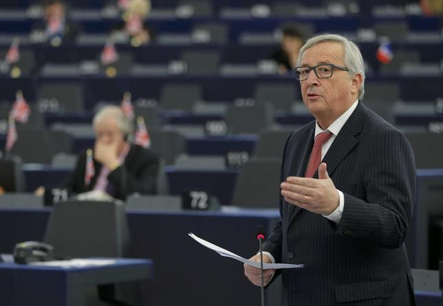 European Commission President Jean-Claude Juncker addresses the European Parliament in Strasbourg, France, during a debate on the results of last European summit, January 19, 2016.   REUTERS/Vincent Kessler