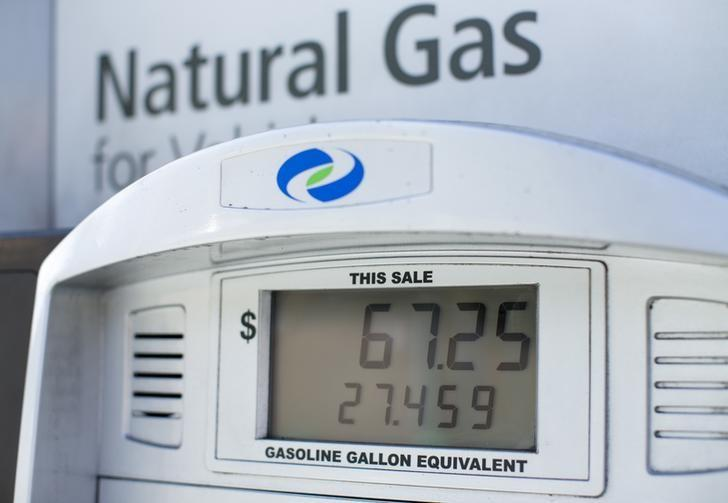 The price in relation to gallons of gas is displayed on a pump at a natural gas station in San Diego, California November 3, 2015.          REUTERS/Mike Blake