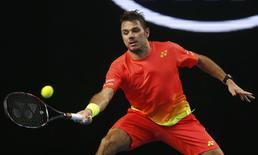 Switzerland's Stan Wawrinka hits a shot during his second round match against Czech Republic's Radek Stepanek at the Australian Open tennis tournament at Melbourne Park, Australia, January 21, 2016. REUTERS/Brandon Malone