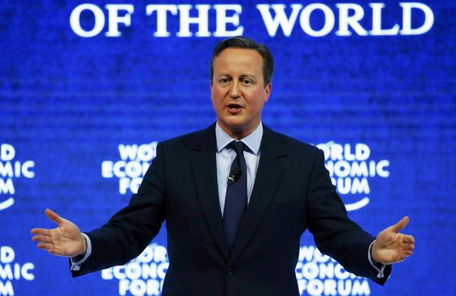 British Prime Minister David Cameron addresses the attendees during the session ''Britain in the World'' during the Annual Meeting 2016 of the World Economic Forum (WEF) in Davos, Switzerland January 21, 2016. REUTERS/Ruben Sprich