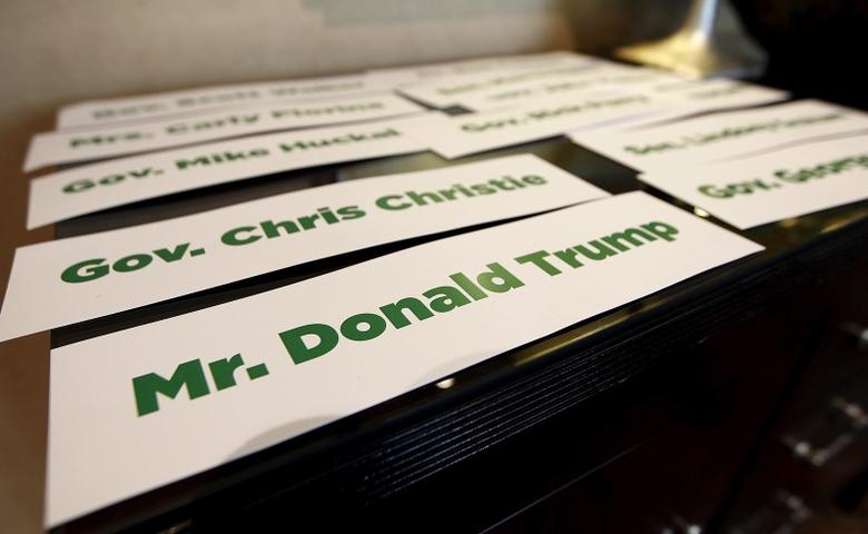 A placard with the name of Republican 2016 U.S. presidential candidate Donald Trump sits on a table at the RedState Gathering in Atlanta, Georgia August 8, 2015.  REUTERS/Tami Chappell   - RTX1NM9Q