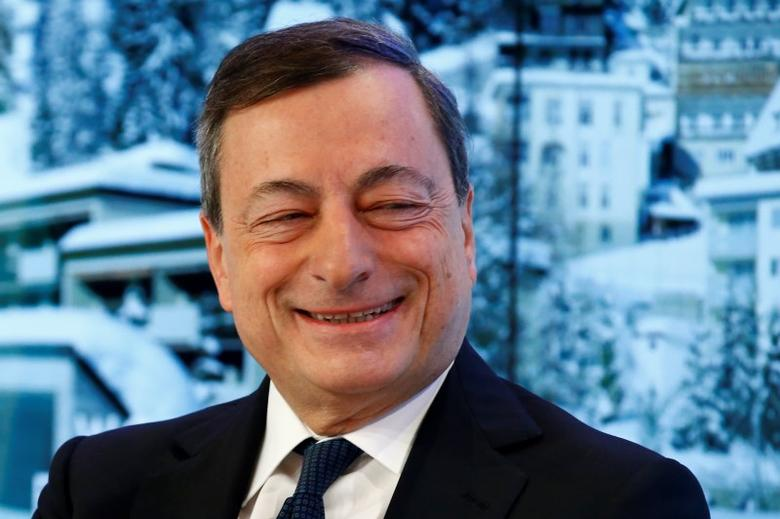 The European Central Bank (ECB) President Mario Draghi attends the annual meeting of the World Economic Forum (WEF) in Davos, Switzerland January 22, 2016. REUTERS/Ruben Sprich