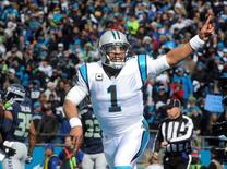 Jan 17, 2016; Charlotte, NC, USA; Carolina Panthers quarterback Cam Newton (1) celebrates a touchdown by Jonathan Stewart (not pictured in the first quarter against the Seattle Seahawks in the NFC Divisional round playoff game at Bank of America Stadium. Sam Sharpe-USA TODAY Sports