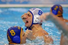 Serbia's Milan Aleksic celebrates his goal against Montenegro during the men's European Water Polo Championship gold medal match in Belgrade, Serbia January 23, 2016.  REUTERS/Laszlo Balogh