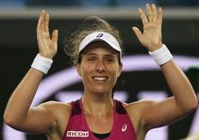 Britain's Johanna Konta celebrates after winning her fourth round match against Russia's Ekaterina Makarova at the Australian Open tennis tournament at Melbourne Park, Australia, January 25, 2016. REUTERS/Issei Kato