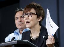 Cindy Blackstock (R), executive director of the First Nations Child and Family Caring Society Caring Society, speaks during a news conference regarding a ruling by the Canadian Human Rights Tribunal with Assembly of First Nations National Chief Perry Bellegarde in Ottawa, Canada, January 26, 2016. REUTERS/Chris Wattie