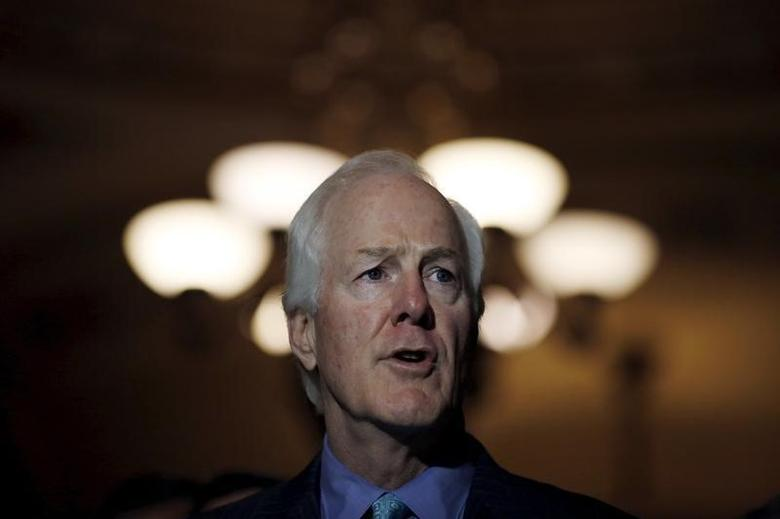 Senator John Cornyn (R-TX) speaks during a news conference following party policy lunch meeting at the U.S. Capitol in Washington August 4, 2015. REUTERS/Carlos Barria