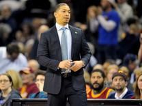 Jan 25, 2016; Cleveland, OH, USA; Cleveland Cavaliers head coach Tyronn Lue reacts after a 114-107 win over the Minnesota Timberwolves at Quicken Loans Arena. Mandatory Credit: David Richard-USA TODAY Sports