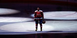 Jan 27, 2016; Washington, DC, USA; Washington Capitals left wing Alex Ovechkin (8) stands on the ice prior to the Capitals' game against the Philadelphia Flyers at Verizon Center. Mandatory Credit: Geoff Burke-USA TODAY Sports