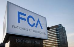 A new Fiat Chrysler Automobiles sign is pictured after being unveiled at Chrysler Group World Headquarters in Auburn Hills, Michigan May 6, 2014.    REUTERS/Rebecca Cook