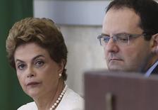 Presidente Dilma e ministro Nelson Barbosa durante reunião do Conselhão  28/1/2016 REUTERS/Adriano Machado