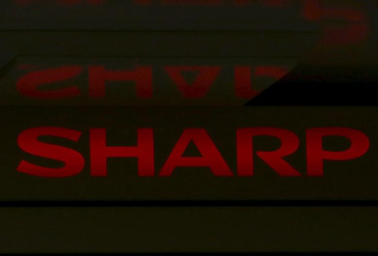 A logo of Sharp Corp is seen on top of its liquid crystal display monitors in Tokyo, Japan, June 23, 2015. REUTERS/Yuya Shino
