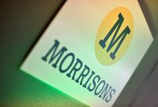 Branding for Morrisons is seen in a conference room in central London, Britain September 10, 2015. REUTERS/Toby Melville