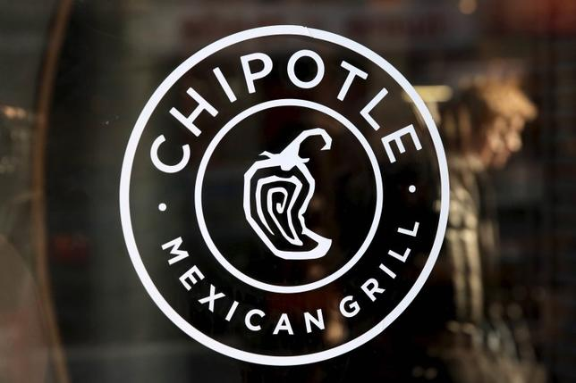 A logo of Chipotle Mexican Grill is seen on a store entrance in Manhattan, New York, in this file photo taken November 23, 2015.   REUTERS/Andrew Kelly/Files