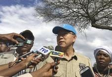 United Nations Secretary General Ban Ki-moon speaks to the media during his visit to Halo village in Ethiopia, January 31, 2016. Picture taken January 31, 2016. REUTERS/Edmund Blair