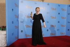 Adele  at the 70th annual Golden Globe Awards in Beverly Hills, California, January 13, 2013.  REUTERS/Lucy Nicholson