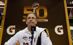 Feb 1, 2016; San Jose, CA, USA; Denver Broncos quarterback Peyton Manning (18) during Super Bowl 50 Opening Night media day at SAP Center. Mandatory Credit: Kyle Terada-USA TODAY Sports