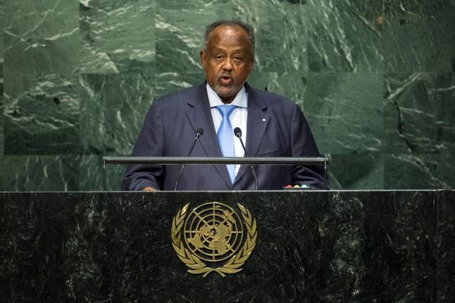 Republic of Djibouti President Omar Guelleh addresses attendees during the 70th session of the United Nations General Assembly at the U.N. Headquarters in New York, September 30, 2015.  REUTERS/Eduardo Munoz