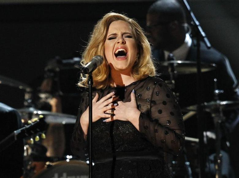 Adele performs ''Rolling in the Deep'' at the 54th annual Grammy Awards in Los Angeles, California, in this February 12, 2012 file photo.    REUTERS/Mario Anzuoni/Files . SAP is the sponsor of this coverage which is independently produced by the staff of Reuters News Agency.