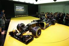 The new Renault RS16 Formula One racing car is seen during its official presentation at the company's research center, the Technocentre, in Guyancourt, near Paris, France, February 3, 2016. REUTERS/Benoit Tessier