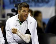 Argentina's tennis player Juan Martin Del Potro, who underwent an operation on his left wrist last June, cheers Argentina's Federico Delbonis during his Davis Cup tennis match against Serbia's Viktor Troicki in Buenos Aires, July 17, 2015.  REUTERS/Marcos Brindicci