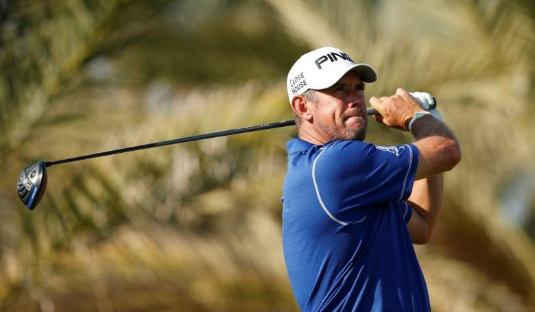 England's Lee Westwood in action during the first round. Abu Dhabi Golf Club, United Arab Emirates - 21/1/16. Action Images via Reuters / Paul Childs