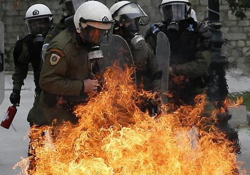 Fiery pension protests in Greece