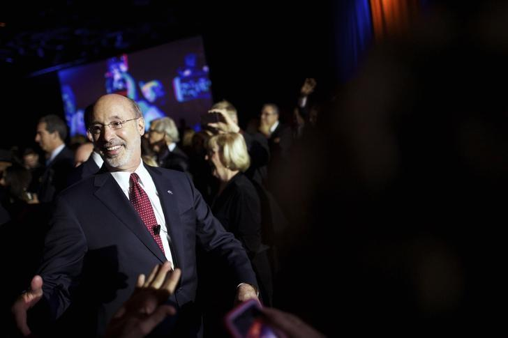 Pennsylvania's new governor, Democrat Tom Wolf, arrives at his ''Let's Get Started'' celebration at Hershey Lodge, January 20, 2015.  REUTERS/Mark Makela