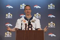 February 4, 2016; Santa Clara, CA, USA; Denver Broncos quarterback Peyton Manning (18) addresses the media during a press conference prior to Super Bowl 50 at Santa Clara Marriott. Mandatory Credit: Kyle Terada-USA TODAY Sports -