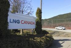 The entrance to Shell's LNG Canada project site is shown in Kitimat in northwestern British Columbia in this April 12, 2014 file photo. REUTERS/Julie Gordon