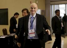 Gianni Infantino arrives at the South American Football confederation CONMEBOL for a meeting with officials in Luque, Paraguay, January 26, 2016.  REUTERS/Mario Valdez