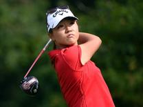 Lydia Ko drives during the fourth round at Vancouver Golf Club. Anne-Marie Sorvin-USA TODAY Sports