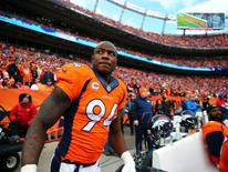 Denver Broncos defensive end DeMarcus Ware (94) against the New England Patriots in the AFC Championship football game at Sports Authority Field at Mile High. Mark J. Rebilas-USA TODAY Sports