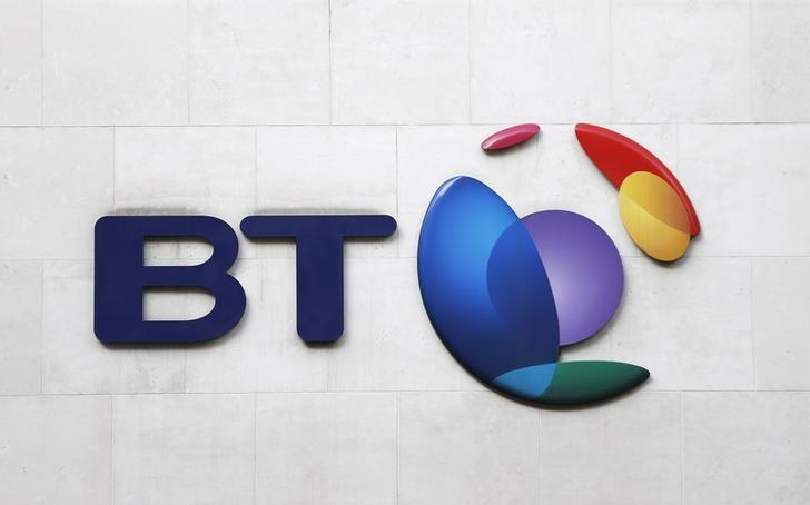 A BT logo is seen on a building in London, February 5, 2015. REUTERS/Suzanne Plunkett/Files