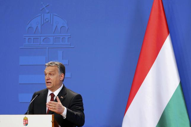 Hungarian Prime minister Viktor Orban speaks during a joint news conference with his Polish counterpart Beata Szydlo (not pictured) after their meeting in Budapest, Hungary February 8, 2016. REUTERS/Laszlo Balogh