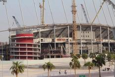 Construction work goes on at the Khalifa International Stadium in Doha, Qatar September 16, 2015. REUTERS/Naseem Zeitoon
