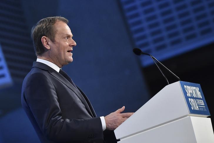 European Council President Donald Tusk addresses delegates during the first 'Thermatic Pledging Session' at the donors Conference for Syria in London, Britain February 4, 2016.    REUTERS/Ben Stansall/pool
