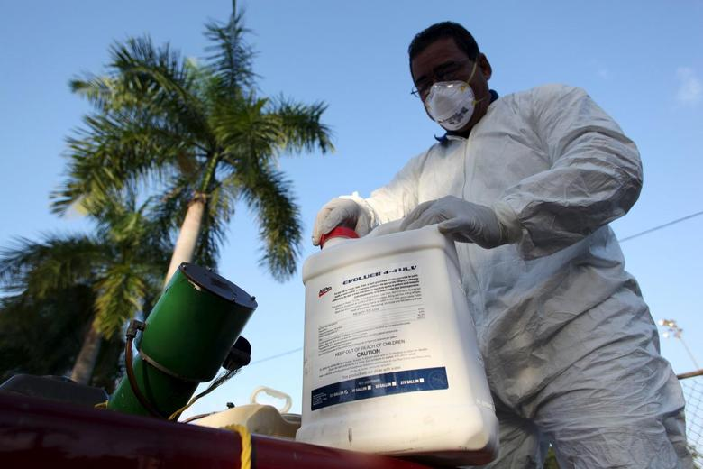 A health worker prepares insecticide before fumigating in a neighborhood in San Juan, January 27, 2016. REUTERS/Alvin Baez