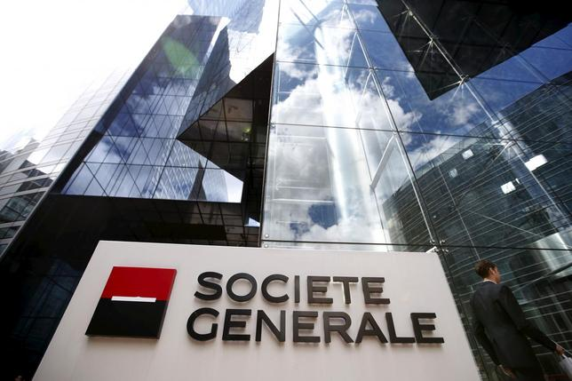 The logo of French bank Societe Generale is seen in front of the bank's headquarters in La Defense near Paris, France in this May 7, 2015 file photo. REUTERS/Charles Platiau/Files