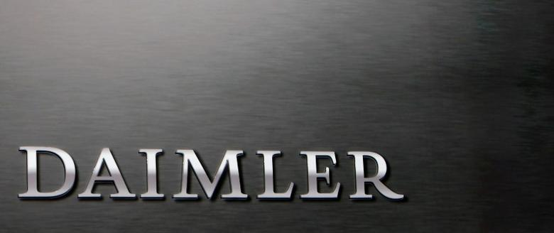 A Daimler sign name is pictured behind the podium during the company's annual news conference in Stuttgart, Germany, February 4, 2016. REUTERS/Michaela Rehle