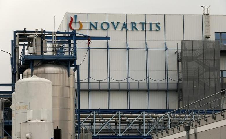 The logo of Swiss pharmaceutical company Novartis is seen at the company's plant in Hueninge, France January 27, 2016. REUTERS/Arnd Wiegmann